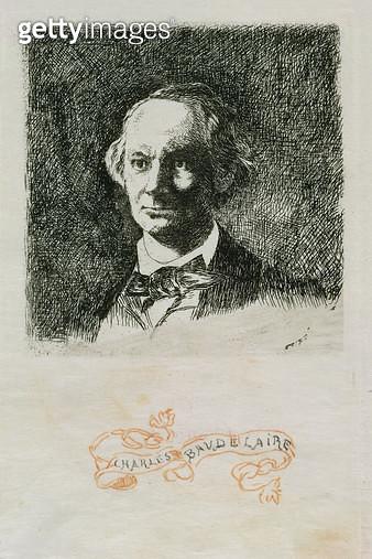 <b>Title</b> : Charles Baudelaire (1820-67) 1868 (etching)<br><b>Medium</b> : <br><b>Location</b> : Nationalmuseum, Stockholm, Sweden<br> - gettyimageskorea