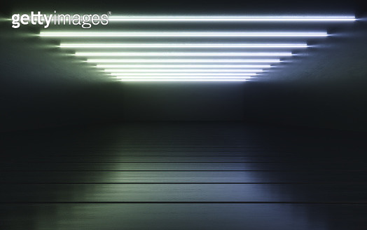 Empty rooms with LED lights - gettyimageskorea