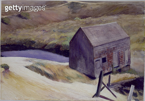 <b>Title</b> : The Lewis Barn, 1931 (w/c on paper)<br><b>Medium</b> : watercolour on paper<br><b>Location</b> : Private Collection<br> - gettyimageskorea