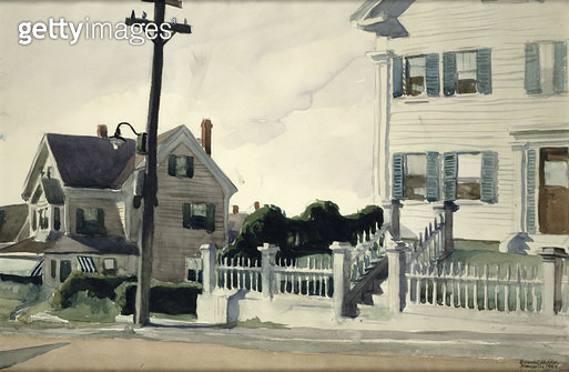 <b>Title</b> : House with Fence, 1923 (w/c on paper)<br><b>Medium</b> : watercolour on paper<br><b>Location</b> : Private Collection<br> - gettyimageskorea