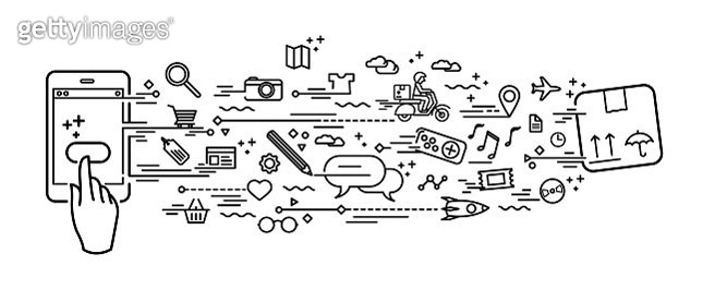 Smartphone online shopping black and white doodle - gettyimageskorea