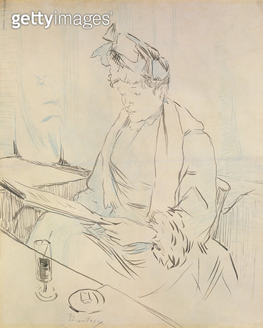 <b>Title</b> : At the Cafe (pencil & ink on paper)<br><b>Medium</b> : pencil and ink on paper<br><b>Location</b> : Private Collection<br> - gettyimageskorea