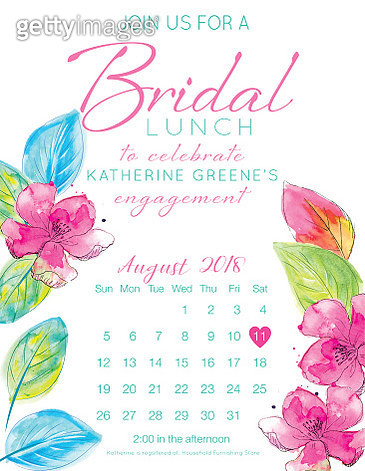 Pretty Watercolor Flowers Bridal Shower Party Invitation Template - gettyimageskorea