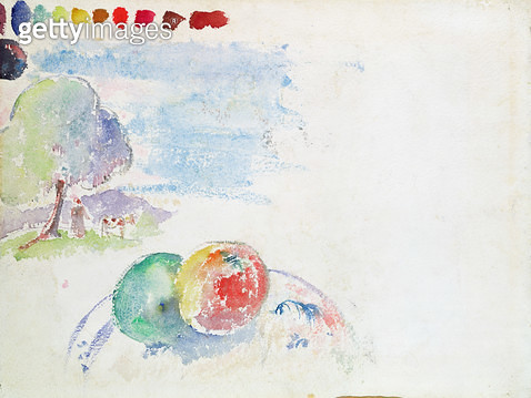 <b>Title</b> : Study of Fruits and a Landscape, 1892 (w/c on paper)<br><b>Medium</b> : watercolour on paper<br><b>Location</b> : Private Collection<br> - gettyimageskorea