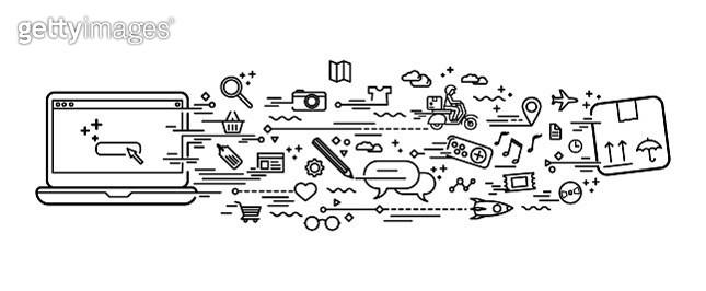 Online shopping doodle - gettyimageskorea