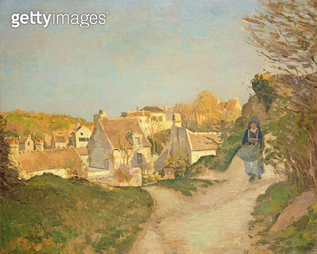 <b>Title</b> : The Hill at Jallais, Pontoise, 1875 (oil on canvas)<br><b>Medium</b> : oil on canvas<br><b>Location</b> : Private Collection<br> - gettyimageskorea