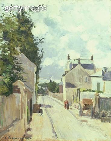 <b>Title</b> : Rue de l'Ermitage, Pontoise, 1874 (oil on canvas)<br><b>Medium</b> : oil on canvas<br><b>Location</b> : Private Collection<br> - gettyimageskorea