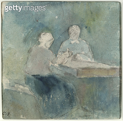 <b>Title</b> : Two Peasants at the Table, c.1874 (w/c on paper)<br><b>Medium</b> : watercolour on paper<br><b>Location</b> : Private Collection<br> - gettyimageskorea
