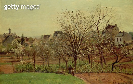 <b>Title</b> : The Orchard, 1870 (oil on canvas)<br><b>Medium</b> : oil on canvas<br><b>Location</b> : Private Collection<br> - gettyimageskorea