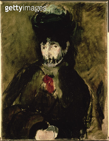 <b>Title</b> : Berthe Morisot (1841-95) Wearing a Veil, 1872 (oil on canvas)<br><b>Medium</b> : oil on canvas<br><b>Location</b> : Private Collection<br> - gettyimageskorea
