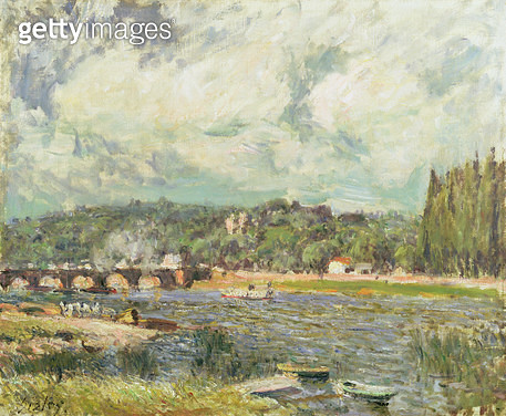 <b>Title</b> : The Bridge at Sevres, c.1877 (oil on canvas)<br><b>Medium</b> : oil on canvas<br><b>Location</b> : Private Collection<br> - gettyimageskorea