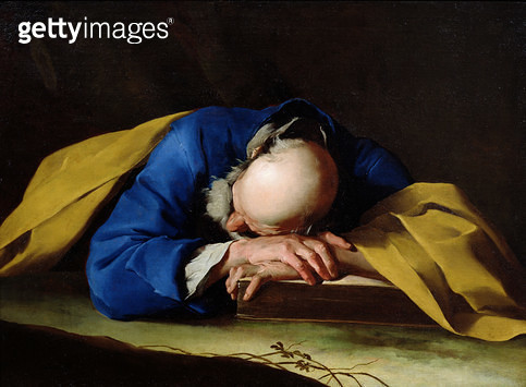 <b>Title</b> : St. Peter or St. Jerome Sleeping, c.1735-39 (oil on canvas)Additional InfoLe Sommeil de Saint Pierre; possibly Jerome resting af<br><b>Medium</b> : oil on canvas<br><b>Location</b> : Louvre, Paris, France<br> - gettyimageskorea