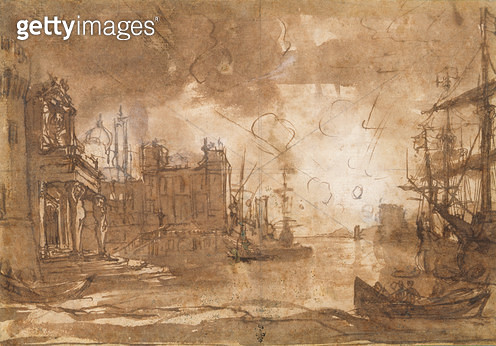 <b>Title</b> : View of a Port with Setting Sun (pen & ink on paper)Additional InfoPort de Mer, Soleil Couchant;<br><b>Medium</b> : pen and ink on paper<br><b>Location</b> : Musee Conde, Chantilly, France<br> - gettyimageskorea