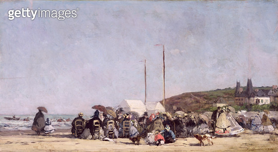 <b>Title</b> : The Beach at Trouville, 1864 (oil on canvas)<br><b>Medium</b> : oil on canvas<br><b>Location</b> : Musee d'Orsay, Paris, France<br> - gettyimageskorea