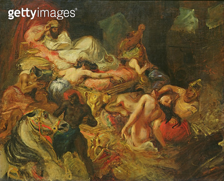 <b>Title</b> : Study for The Death of Sardanapalus, before 1827 (oil on canvas)<br><b>Medium</b> : oil on canvas<br><b>Location</b> : Louvre, Paris, France<br> - gettyimageskorea