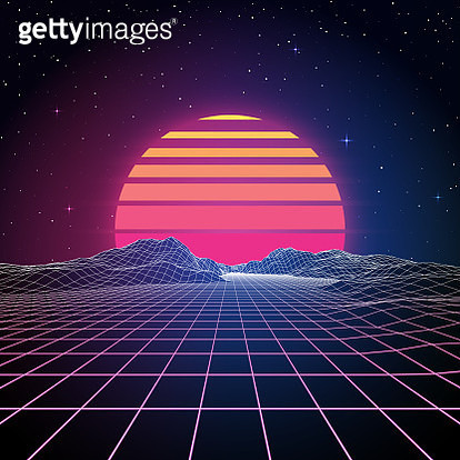 A retro 1980s style background with glowing grid lines leading towards low-poly mountains in the distance. A retro striped sun or planet looms just above the horizon line beneath the stars and night sky. This is an ideal design element for your 80s themed - gettyimageskorea