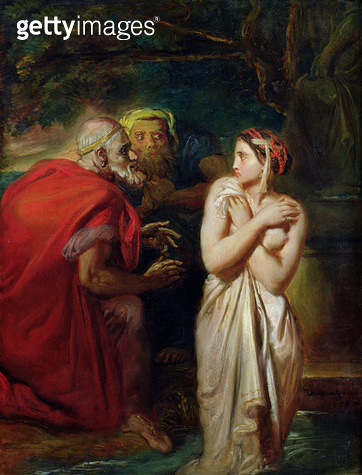 <b>Title</b> : Susanna and the Elders, 1856 (oil on panel)<br><b>Medium</b> : oil on panel<br><b>Location</b> : Louvre, Paris, France<br> - gettyimageskorea