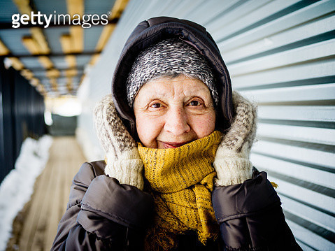 Portrait of women 74 old outdoors in winter - gettyimageskorea