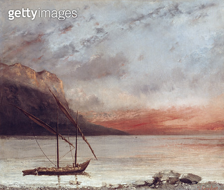 <b>Title</b> : Sunset over Lake Leman, 1874 (oil on canvas)<br><b>Medium</b> : oil on canvas<br><b>Location</b> : Musee des Beaux-Arts, Vevey, Switzerland<br> - gettyimageskorea