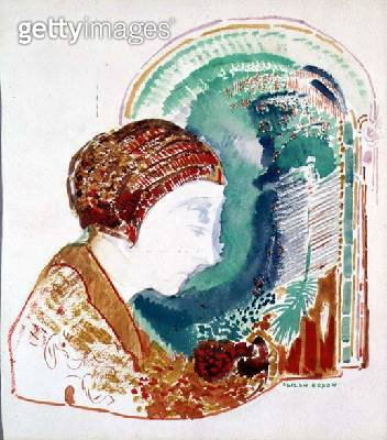 <b>Title</b> : Profile of a Young Girl (w/c on paper)<br><b>Medium</b> : watercolour on paper<br><b>Location</b> : Private Collection<br> - gettyimageskorea