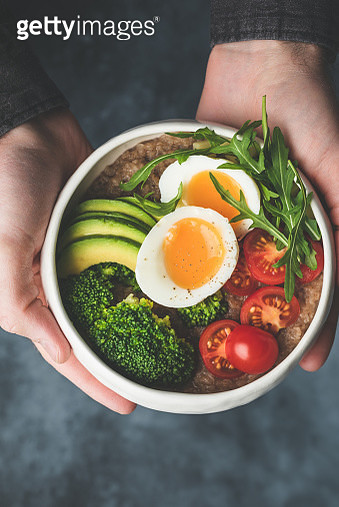 Buddha bowl with broccoli and avocado in bowl - gettyimageskorea