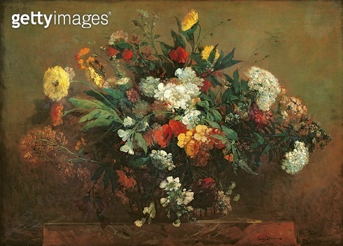 <b>Title</b> : Flowers (oil on canvas)<br><b>Medium</b> : oil on canvas<br><b>Location</b> : Musee des Beaux-Arts, Lille, France<br> - gettyimageskorea