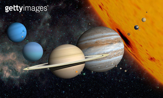 The planets and larger moons to scale with the Sun. - gettyimageskorea