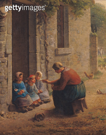 <b>Title</b> : Feeding the Young, 1850 (oil on canvas)<br><b>Medium</b> : oil on canvas<br><b>Location</b> : Musee des Beaux-Arts, Lille, France<br> - gettyimageskorea
