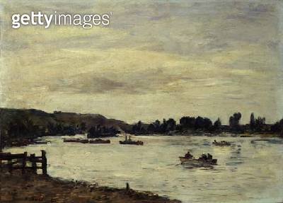 <b>Title</b> : The Seine near Rouen, 1895 (oil on canvas)<br><b>Medium</b> : oil on canvas<br><b>Location</b> : Private Collection<br> - gettyimageskorea