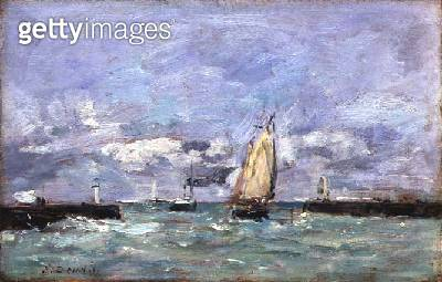 <b>Title</b> : Trouville, c.1885-90 (oil on panel)<br><b>Medium</b> : oil on panel<br><b>Location</b> : Private Collection<br> - gettyimageskorea