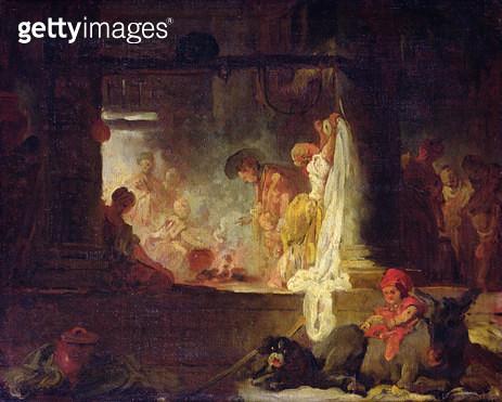 <b>Title</b> : The Washerwomen, c.1759 (oil on canvas)<br><b>Medium</b> : oil on canvas<br><b>Location</b> : Musee des Beaux-Arts, Rouen, France<br> - gettyimageskorea