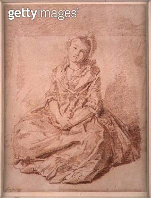 <b>Title</b> : Seated Girl, 1787 (red chalk on paper)<br><b>Medium</b> : red chalk on paper<br><b>Location</b> : Private Collection<br> - gettyimageskorea
