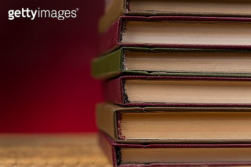 Books on wooden table close up photo - gettyimageskorea