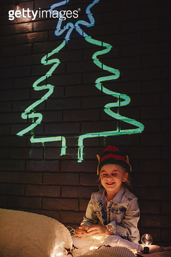 Little Elf and a Christmas tree - gettyimageskorea