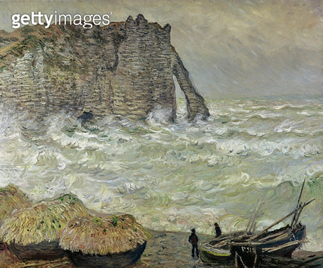 <b>Title</b> : Rough Sea at Etretat, 1883 (oil on canvas)<br><b>Medium</b> : oil on canvas<br><b>Location</b> : Musee des Beaux-Arts, Lyon, France<br> - gettyimageskorea