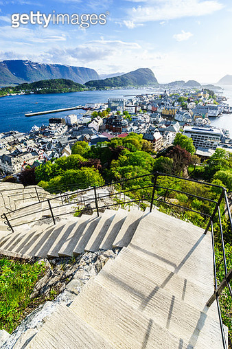 Stairs of the viewpoint, Alesund - gettyimageskorea