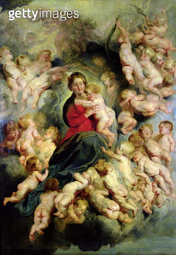 <b>Title</b> : The Virgin and Child surrounded by the Holy Innocents or, The Virgin with Angels, 1618 (oil on canvas)Additional InfoLa Vierge a<br><b>Medium</b> : oil on canvas<br><b>Location</b> : Louvre, Paris, France<br> - gettyimageskorea