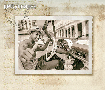 Vintage oldtimer car driving through Havana Cuba on antique photograph - gettyimageskorea