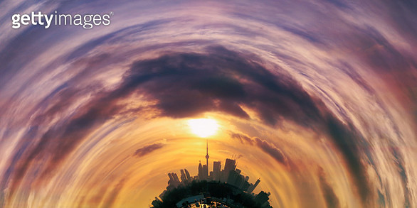 On Point of a Marvelous Sunset. Toronto Planet Panorama - gettyimageskorea