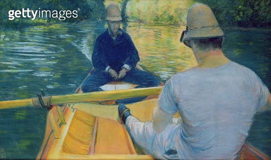 <b>Title</b> : Boaters on the Yerres (oil on canvas)<br><b>Medium</b> : oil on canvas<br><b>Location</b> : Private Collection<br> - gettyimageskorea