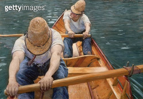 <b>Title</b> : Boaters Rowing on the Yerres, 1877 (oil on canvas)<br><b>Medium</b> : oil on canvas<br><b>Location</b> : Private Collection<br> - gettyimageskorea