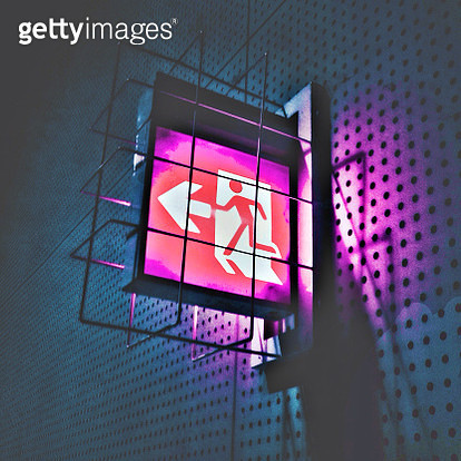Illuminated Emergency Exit Sign - gettyimageskorea