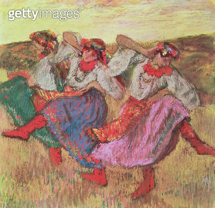 <b>Title</b> : Three dancers in peasant costume (pastel)<br><b>Medium</b> : <br><b>Location</b> : Private Collection<br> - gettyimageskorea