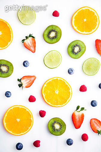 Directly Above Shot Of Various Fruits Served On White Background - gettyimageskorea