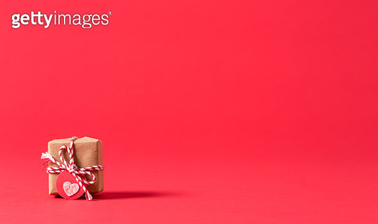 Present box on a red background - gettyimageskorea