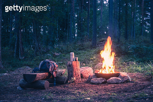 Holiday destination in a forest trip by the fire - gettyimageskorea