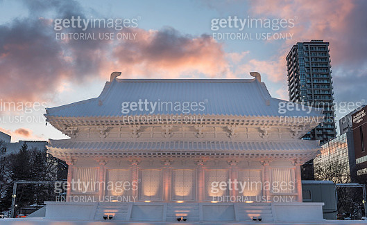 Sapporo Snow Festival 2018 snow palace at dusk with colorful clouds - gettyimageskorea