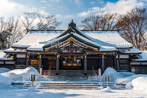 Gokoku-jinja Shrine in Sapporo covered with snow - gettyimageskorea