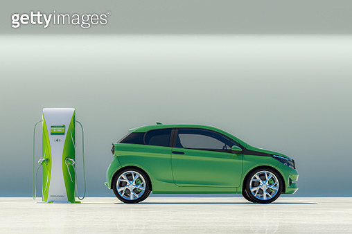 Modern electric car with electric charging station - gettyimageskorea