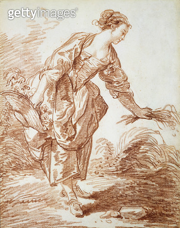<b>Title</b> : La Jardiniere (red chalk on paper)<br><b>Medium</b> : red chalk on paper<br><b>Location</b> : Private Collection<br> - gettyimageskorea